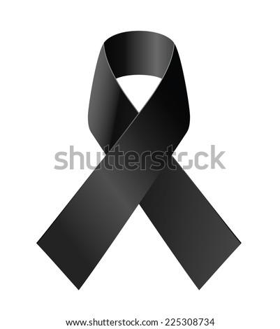 Black awareness ribbon on white background. Mourning and melanoma symbol. - stock vector