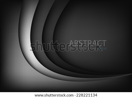 Black background and silver line grey curve with dimension overlap layer on space background for text and message design , vector - stock vector