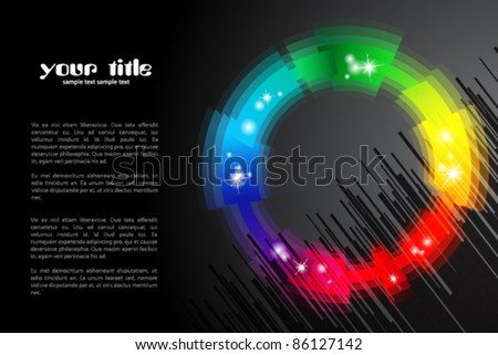 black background / banner with rainbow colored shape / logo - stock vector