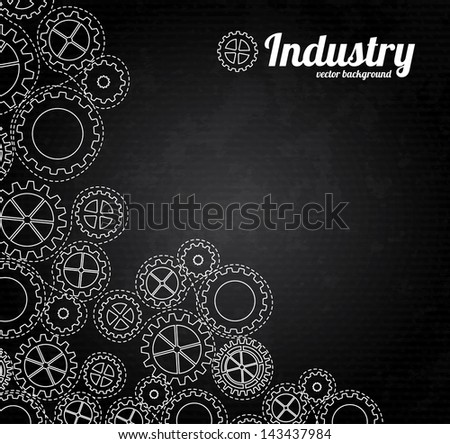 black background texture with gears. vector illustration - stock vector