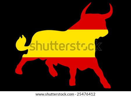 black background with a bull in the spanish colors - stock vector