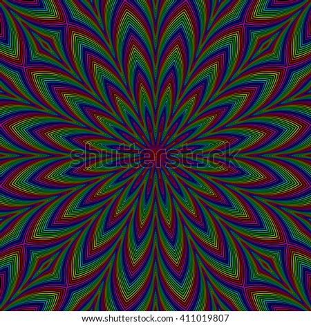 Black background with colorful flower. Seamless pattern.