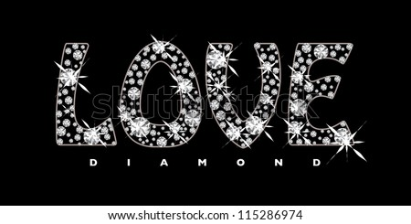 Black background with diamonds in the shape of the word love - stock vector