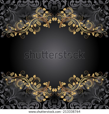 black background with floral ornaments - stock vector