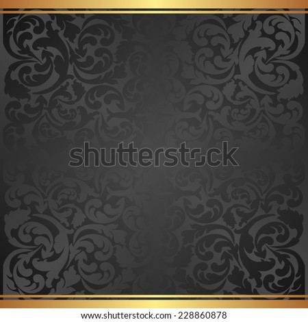 black background with floral pattern - stock vector