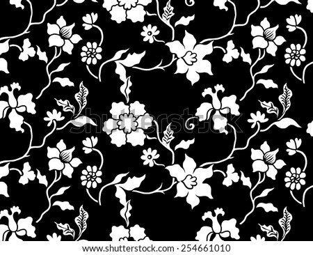 Black background with flowers Pattern. - stock vector
