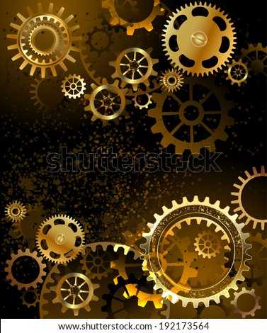 black background with gold and brass gear - stock vector