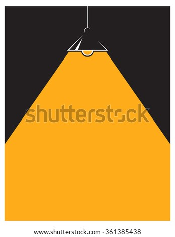Black background with lamp. Flat style. Minimalistic background. Suitable for book covers