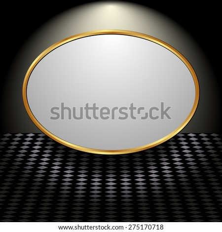 black background with light plate - stock vector