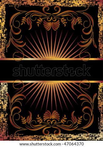 Black background with  luxurious copper ornament