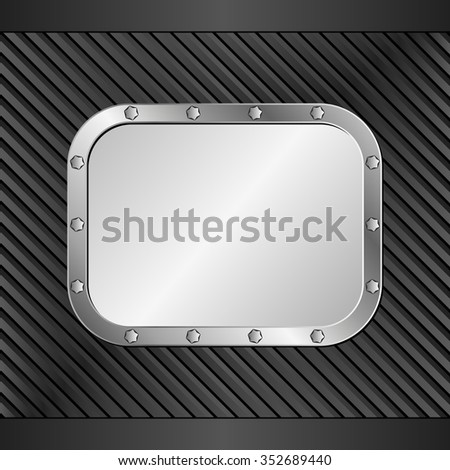 black background with metal banner - stock vector