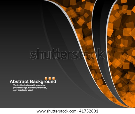 Black background with random transparent orange squares - stock vector