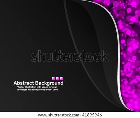 Black background with random transparent pink circles. Vector illustration in RGB colors. - stock vector