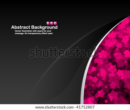 Black background with random transparent pink stars - stock vector
