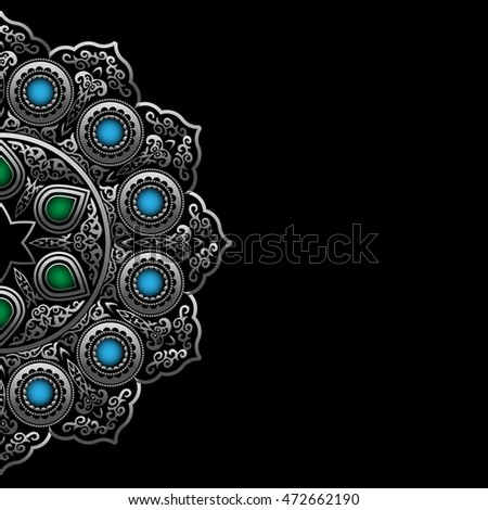 Black background with Silver Round Ornament Pattern with gemstones. Arabic, Islamic, East style. Vector illustration for greeting card, postcard, invitation, poster, banner with place for text