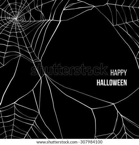 Black background with spider web and place for your text - stock vector