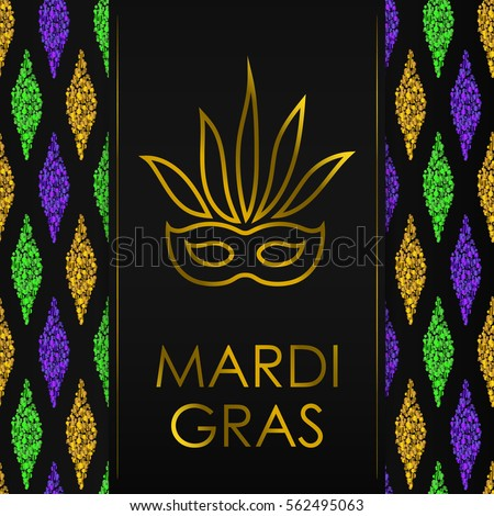 Black background traditional mardi gras seamless stock photo photo black background with traditional mardi gras seamless pattern with gold green yellow and violet m4hsunfo Images