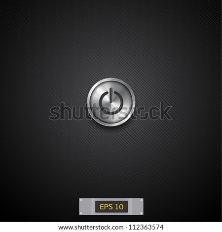 black background with turn on button - stock vector