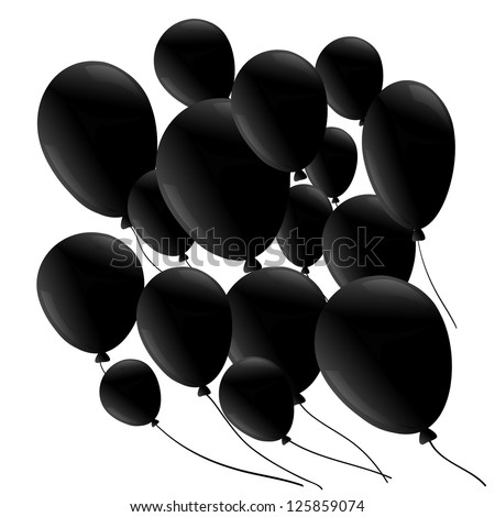 Black balloon  isolated on white background - stock vector