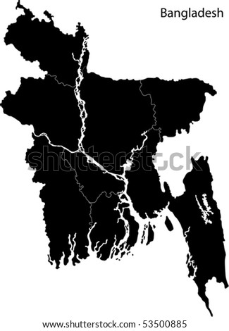 Black Bangladesh Map Separated On Provinces Stock Vector - Bangladesh map