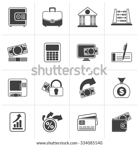 Black Bank, business and finance icons - vector icon set - stock vector