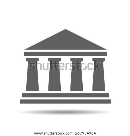 black bank icon on a white background - stock vector