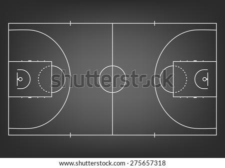 Black basketball court  - top view. Vector EPS10 illustration. - stock vector