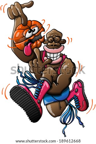 Black basketball player wearing red tank and boots and blue shorts while performing an acrobatic high jump and spinning a ball which looks dizzy, crossing its eyes and sticking its tongue out - stock vector