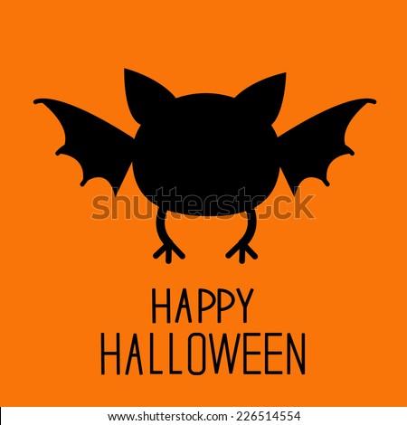 Black bat silhouette. Happy Halloween card. Flat design. Vector illustration - stock vector