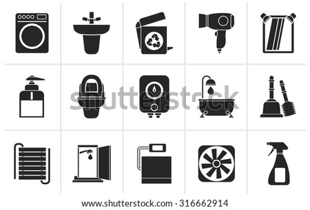Black Bathroom and toilet objects and icons - vector icon set - stock vector