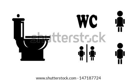 Black Bathroom Icons Set, eps vector illustration - stock vector
