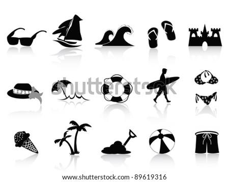 black beach icon set - stock vector