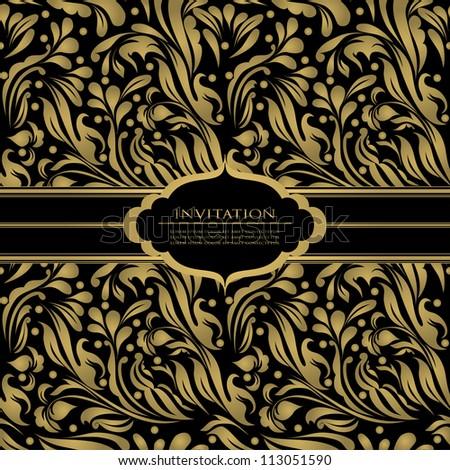 Black beautiful vintage swirl abstract gold card vector eps 10 for brochure, wallpaper, background, backdrop, banner, border, emblem, label, invitation, postcard greeting, wedding card, illustration - stock vector