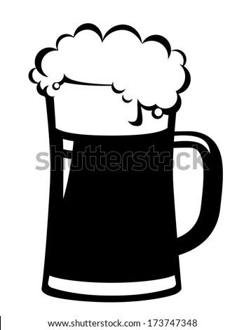 black beer mug on white background - stock vector