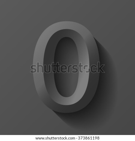 Black bevel font number 0, vector - stock vector