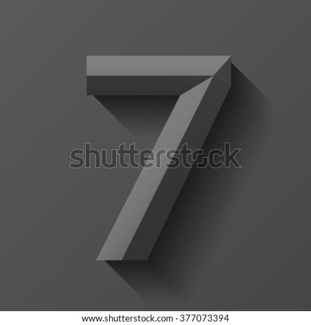Black bevel font number 7, vector - stock vector