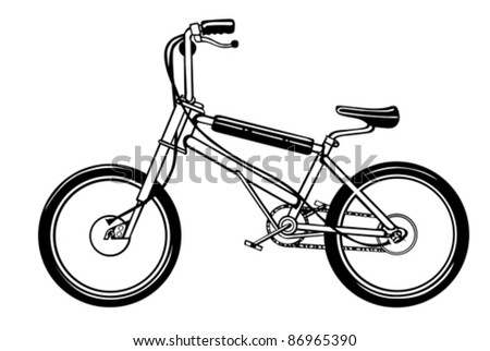 black bicycle on white background