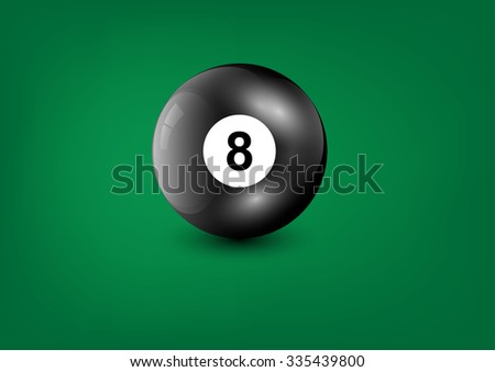 Black billiard ball number eight on green background,Vector illustration
