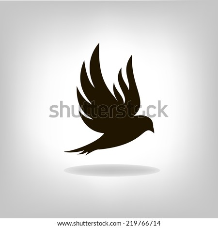 Black bird isolated with outstretched wings, logo - stock vector