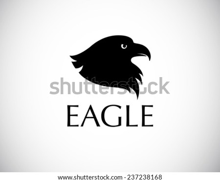 black bird logo - eagle head silhouette isolated on white background - stock vector