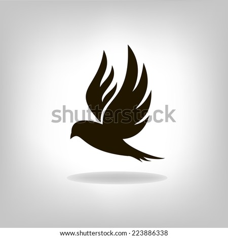 Black bird with expanded wings - stock vector