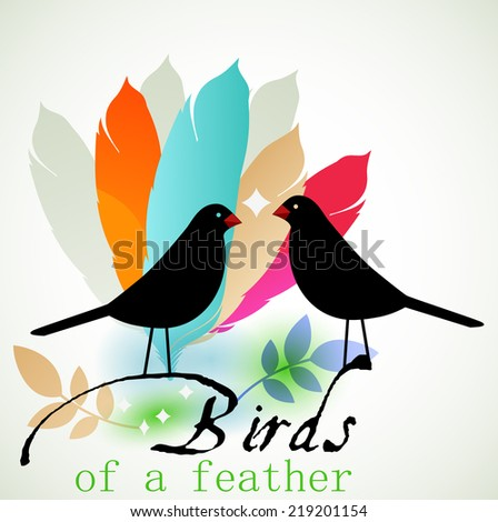 Black birds and feathers  - stock vector