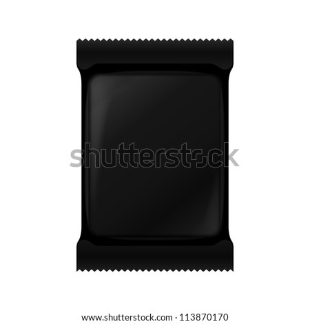 Black Blank Foil Packaging Of Coffee, Salt, Sugar, Pepper, Spices, Sachet, Sweets Or Candy Plastic Pack. Ready For Your Design. Snack Product Packing Vector EPS10 - stock vector