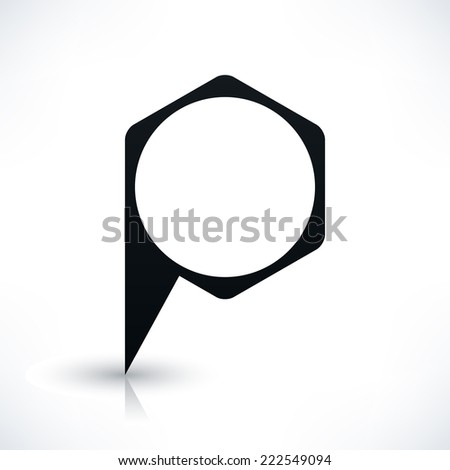 Black blank hexagon map pins sign location icon with circle empty copy space and gray reflection, shadow on white background in flat style. Vector illustration web design element in 8 eps - stock vector