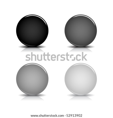 Black blank round glossy web button with shadow and reflection on white - stock vector