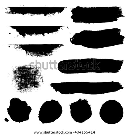 Black Blobs Set, Isolated on White Background, Vector Illustration - stock vector