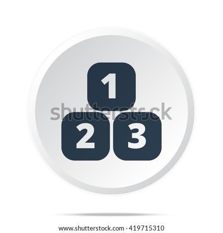 Black 123 Blocks icon on white web button - stock vector