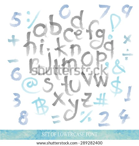 Black blue alphabet lowercase letters.Hand drawn written with a soft watercolor paint brush chalk pencil