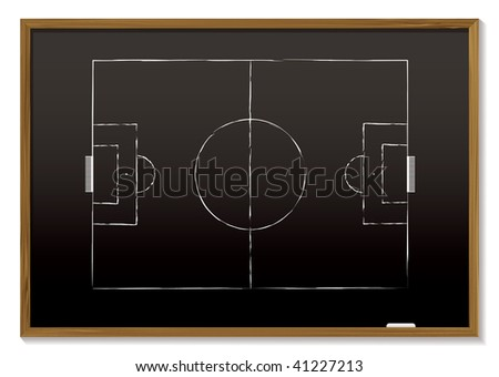 black board with wood frame and chalk drawing of pitch