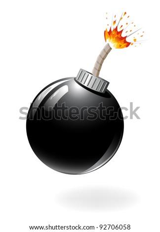 Black bomb burning isolated on the white background. - stock vector